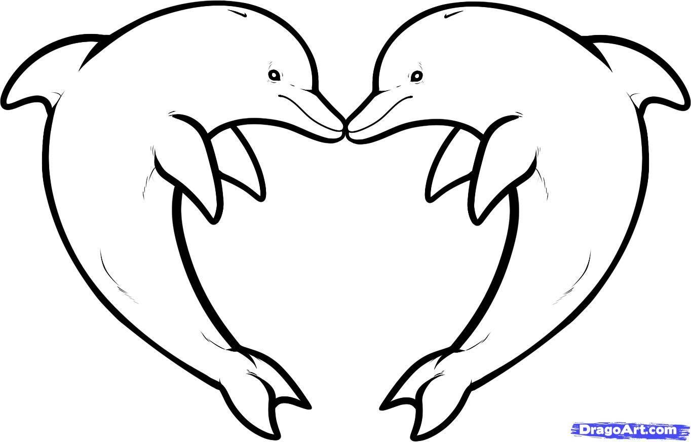 Drawings of easy hearts. Clipart dolphin heart