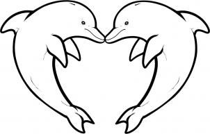 Dolphin clipart heart. How to draw love