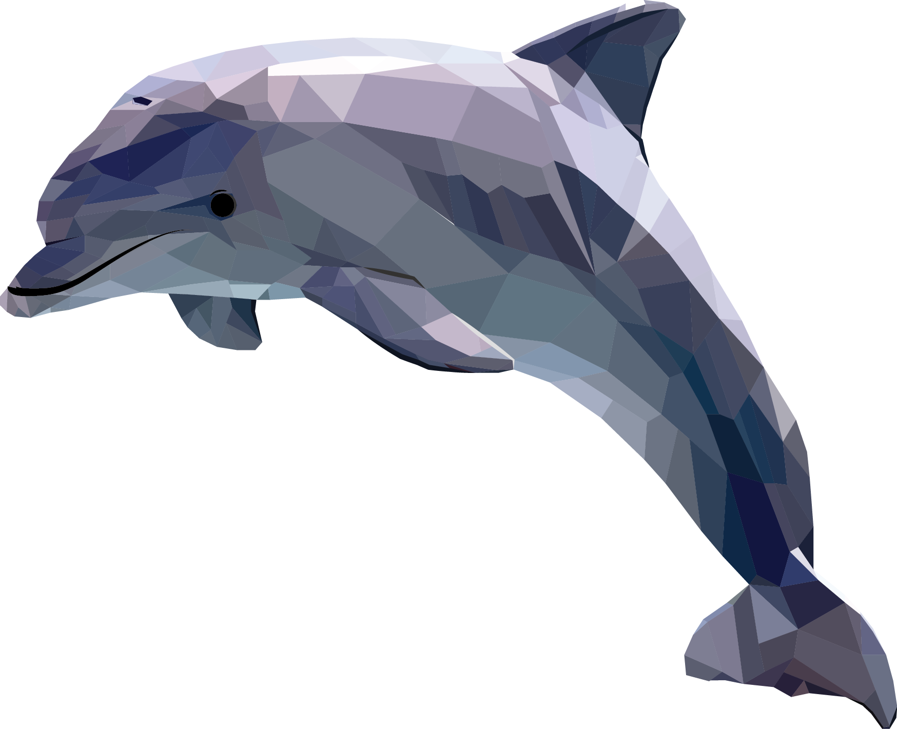 Polygonal geometric animal by. Dolphin clipart side view