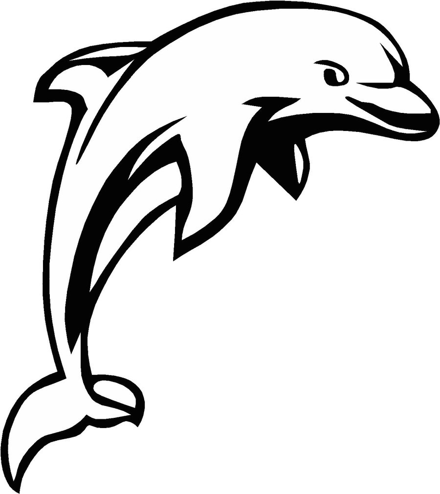 Free line art download. Dolphin clipart vector