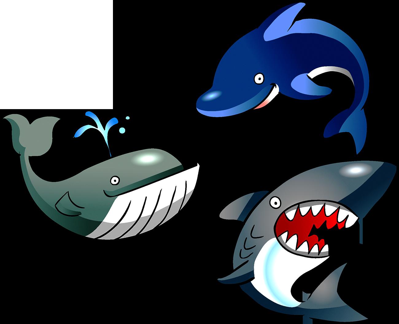 Cartoon marine life clip. Dolphin clipart shark