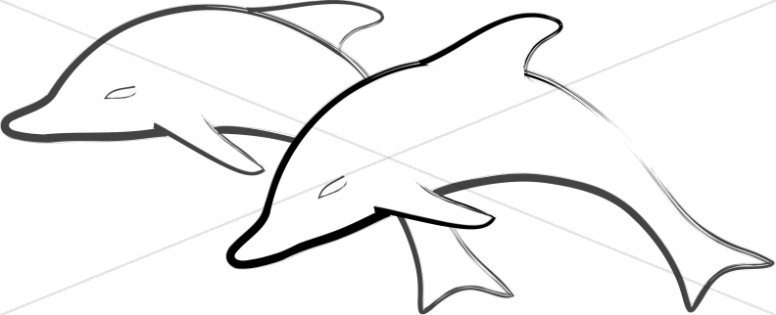 Dolphin clipart nature. Two simple dolphins jumping