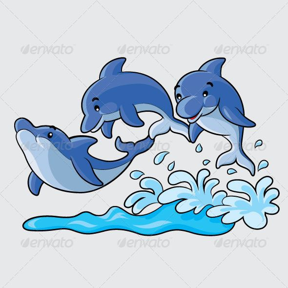 Dolphin clipart nature. Dolphins cartoon bonitas fish