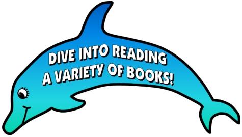 Clipart dolphin reading book. Dive into sticker charts