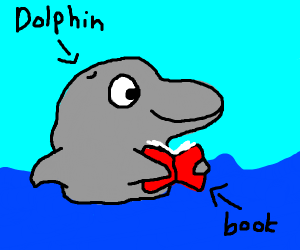 Drawception . Clipart dolphin reading book