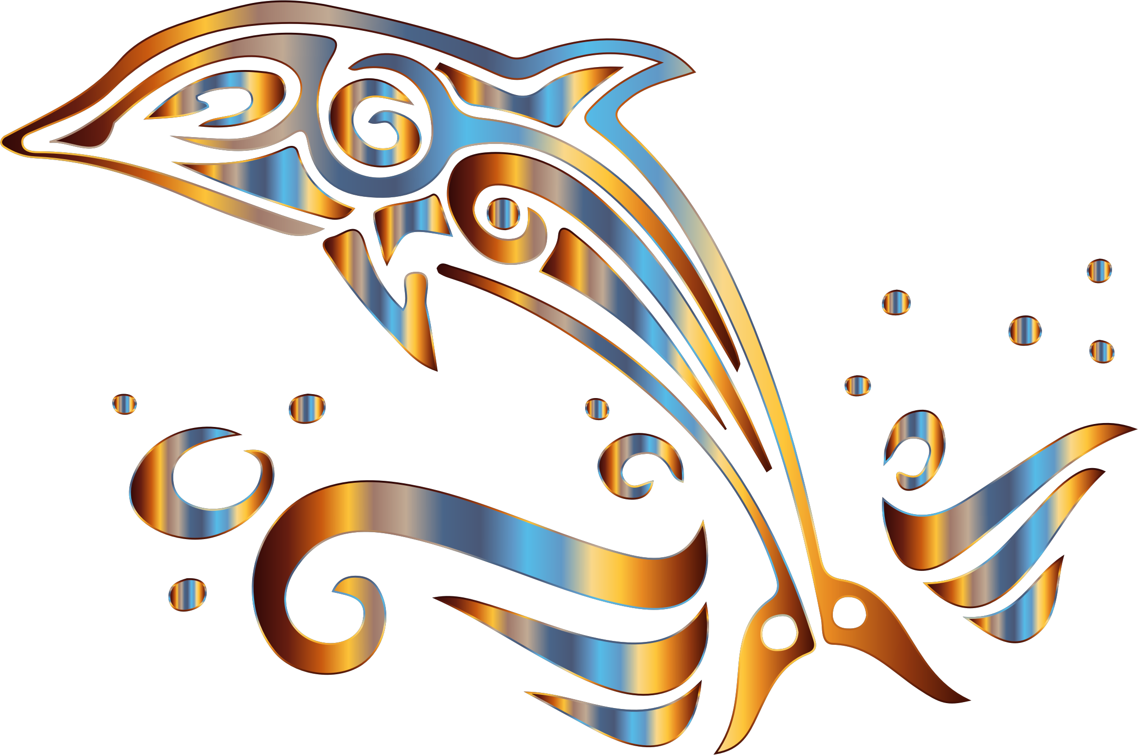 Chromatic tribal no background. Clipart ocean dolphin