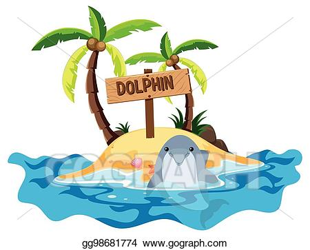 Vector stock with and. Clipart dolphin scene