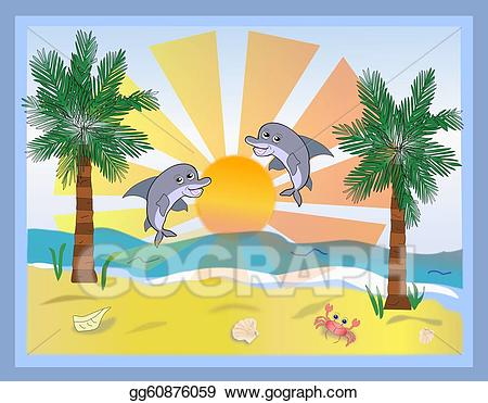 Beach with two dolphins. Clipart dolphin scene