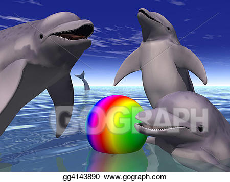 Clipart dolphin scene. Stock illustration playing dolphins
