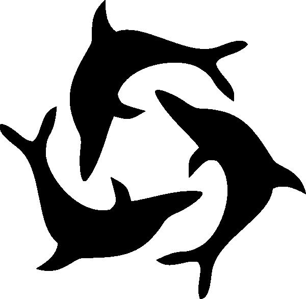 Black triad clip art. Dolphin clipart tribal