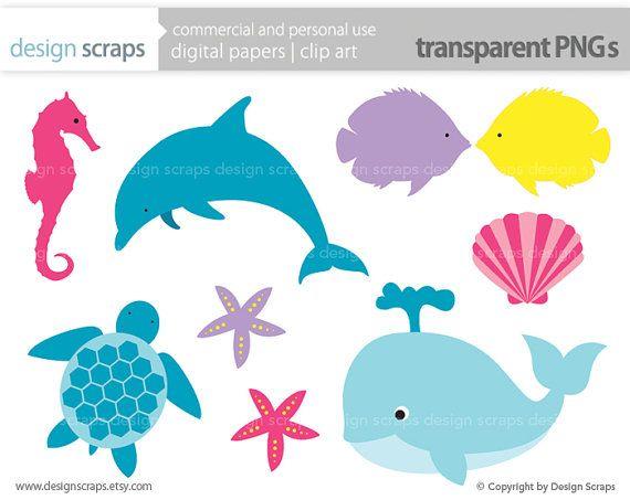 Dolphin clipart seahorse. Sea life clip art