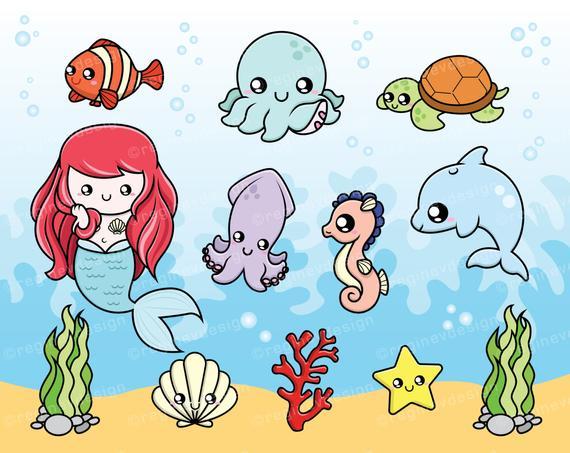 Clipart octopus cute underwate animal. Sea creatures baby seahorse