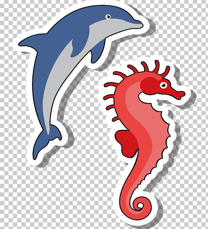 Dolphin clipart seahorse. Cartoon illustration png animals