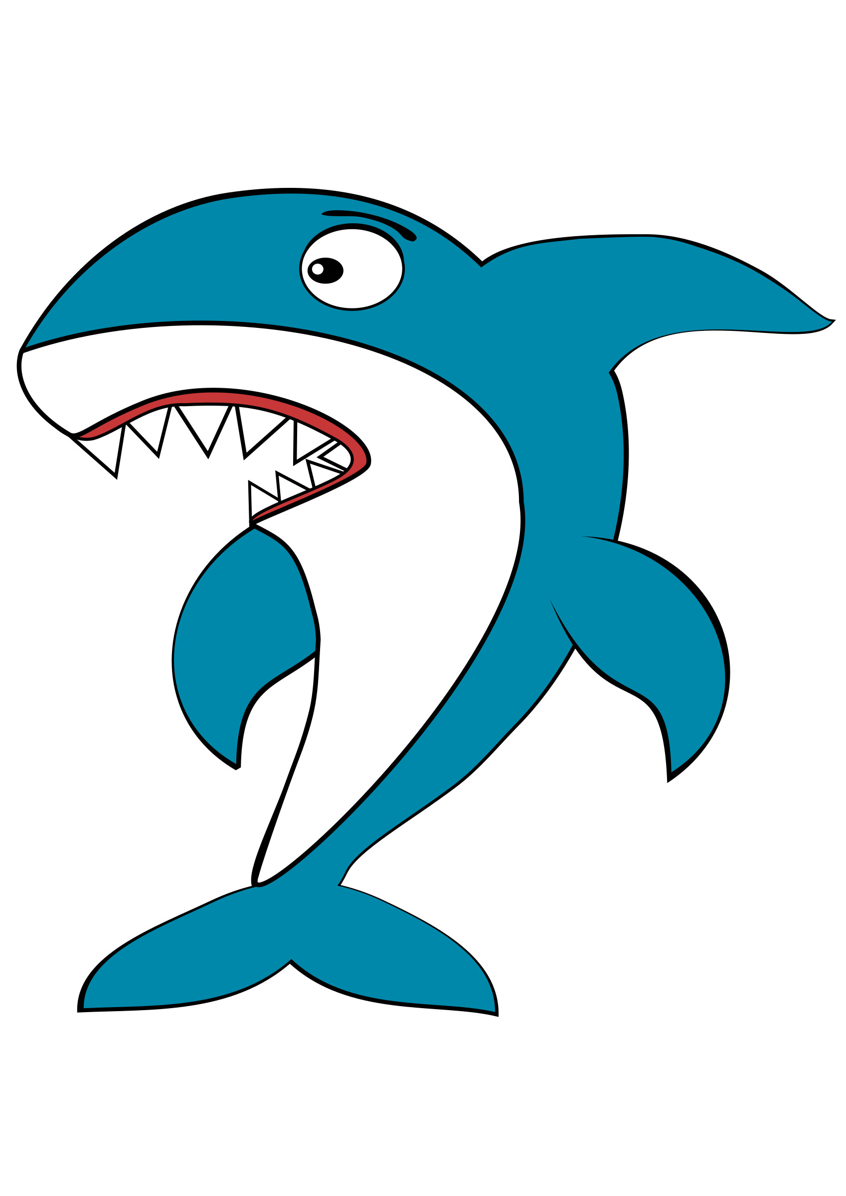 Shark cartoon big image. Dolphin clipart comic