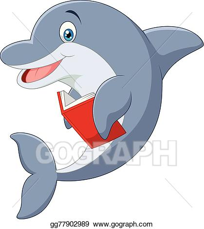 Clipart dolphin standing. Eps illustration cartoon little