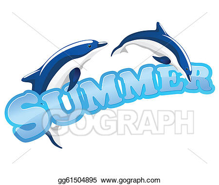 Vector art sign with. Dolphin clipart summer