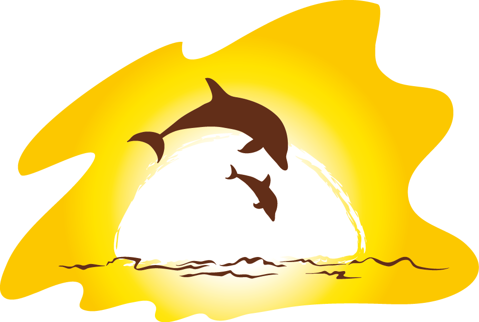 sunset clipart dolphins