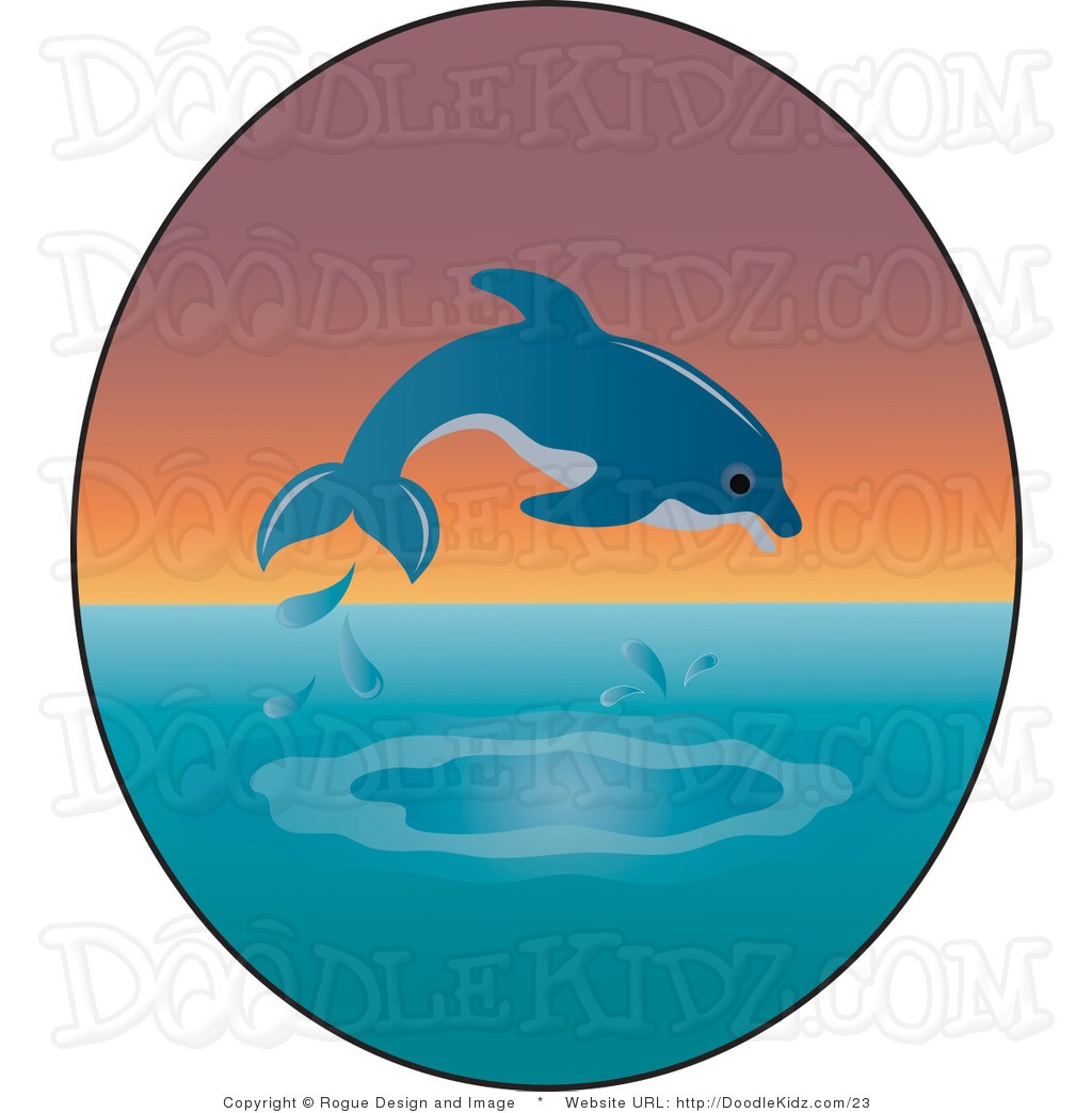 Sunset clipart dolphins. In of dolphin clip