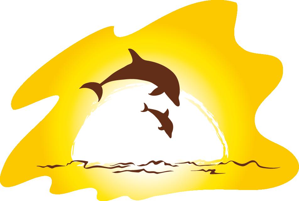 Beach clip art png. Dolphin clipart sunset