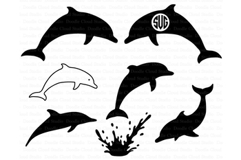 Dolphins monogram png files. Clipart dolphin svg
