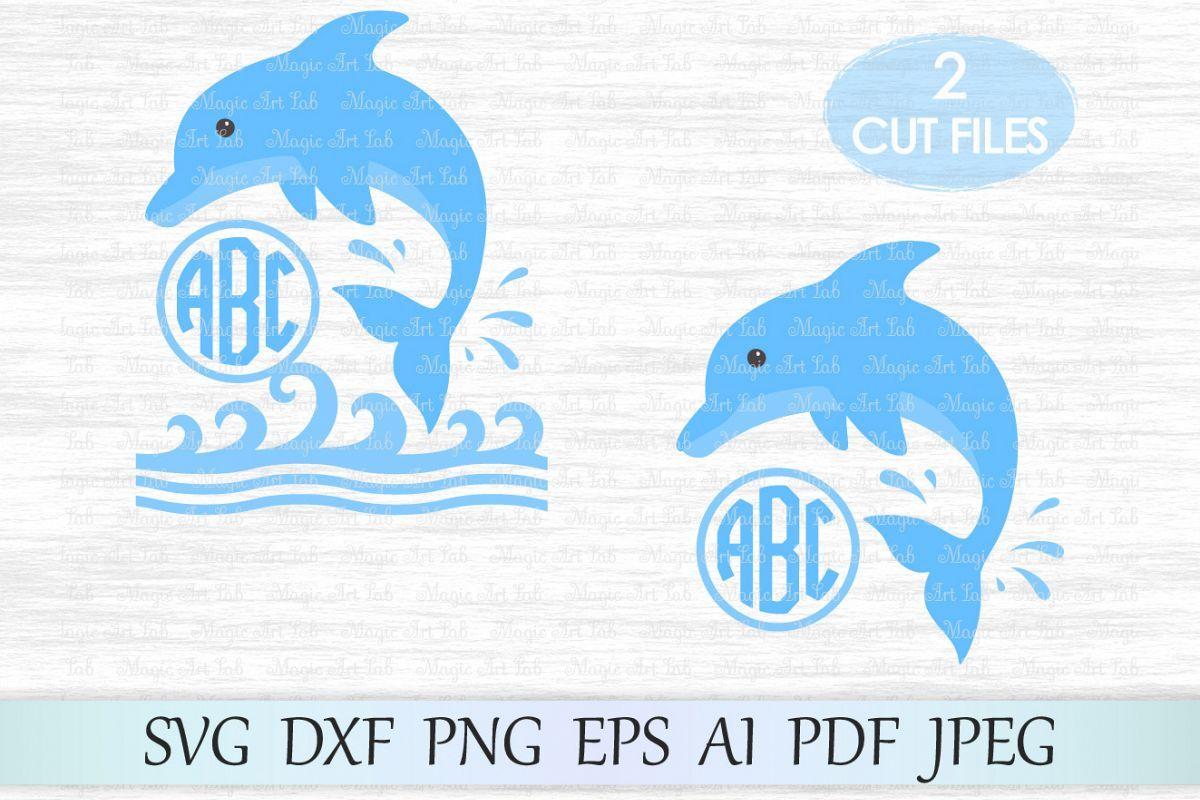 File monogram sea wave. Clipart dolphin svg