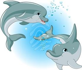 Dolphin clipart two. Picture of happy dolphins