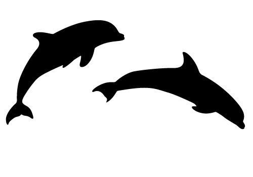 Beautiful silhouette vector sheer. Dolphin clipart two