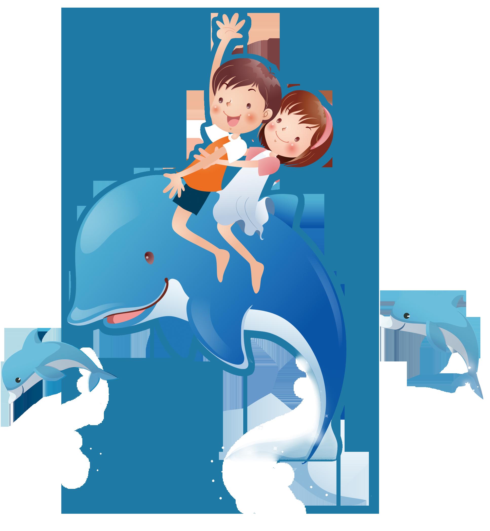 Dolphins clipart comic. Cartoon cdr illustration aquarium