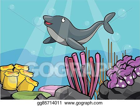 Vector at sea . Dolphin clipart underwater