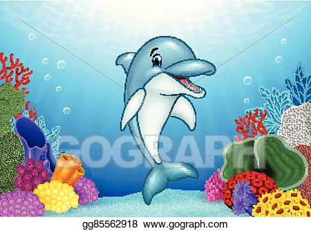 Vector stock cute dolphin. Dolphins clipart underwater