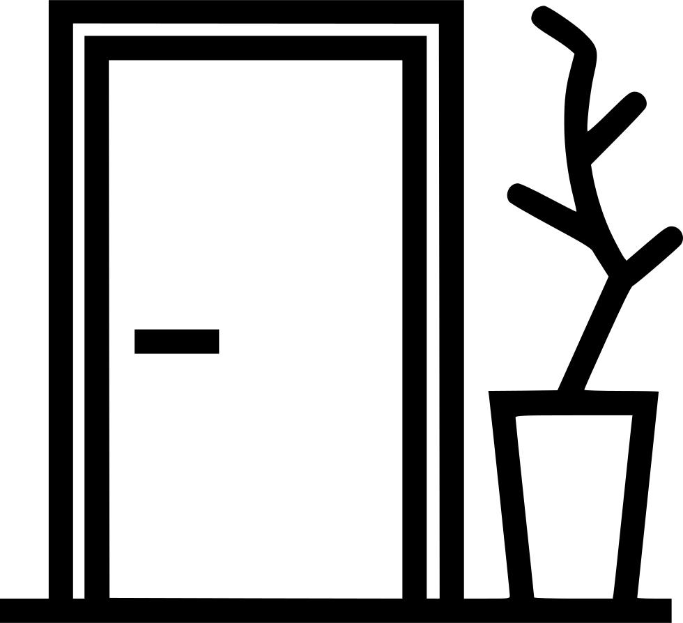 Entrance plant decoration svg. Door clipart apartment door