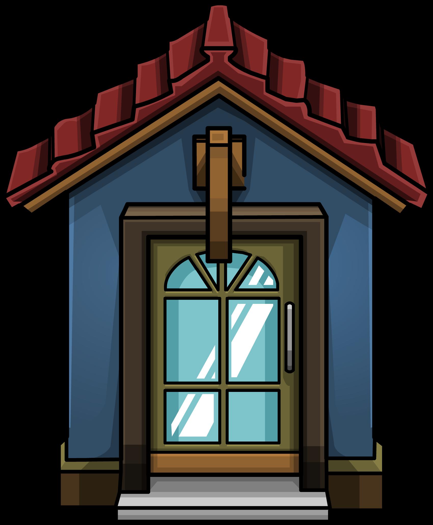 Cozy blue door club. Win clipart house windows