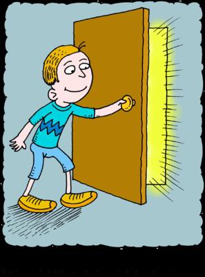 Image boy with glorious. Door clipart opening door
