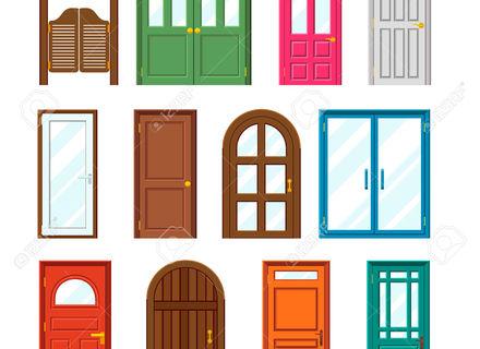 green royalty free. Door clipart cartoon