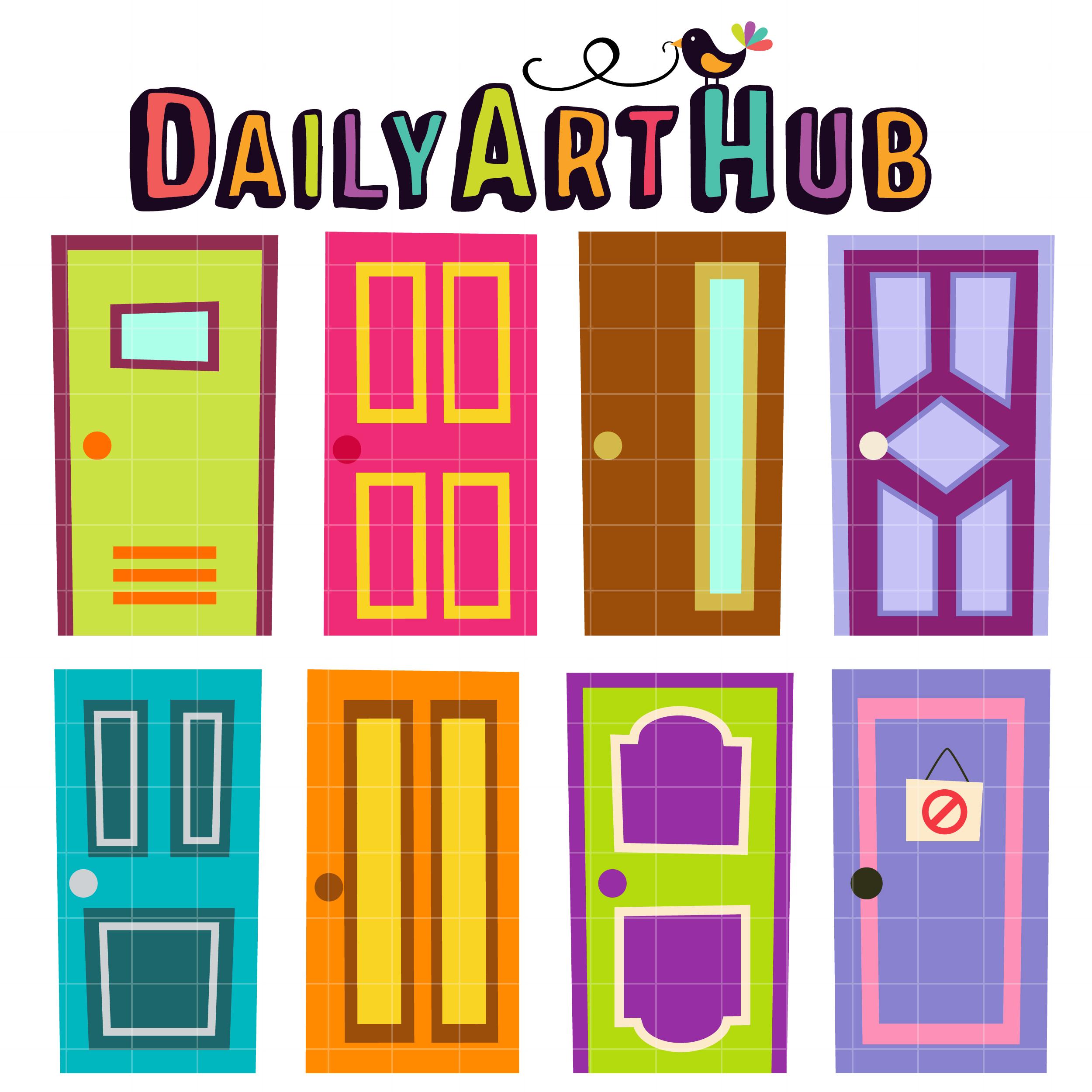 Quirky doors clip art. Door clipart colorful door