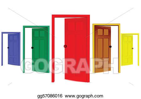 Vector art open doors. Door clipart colorful door