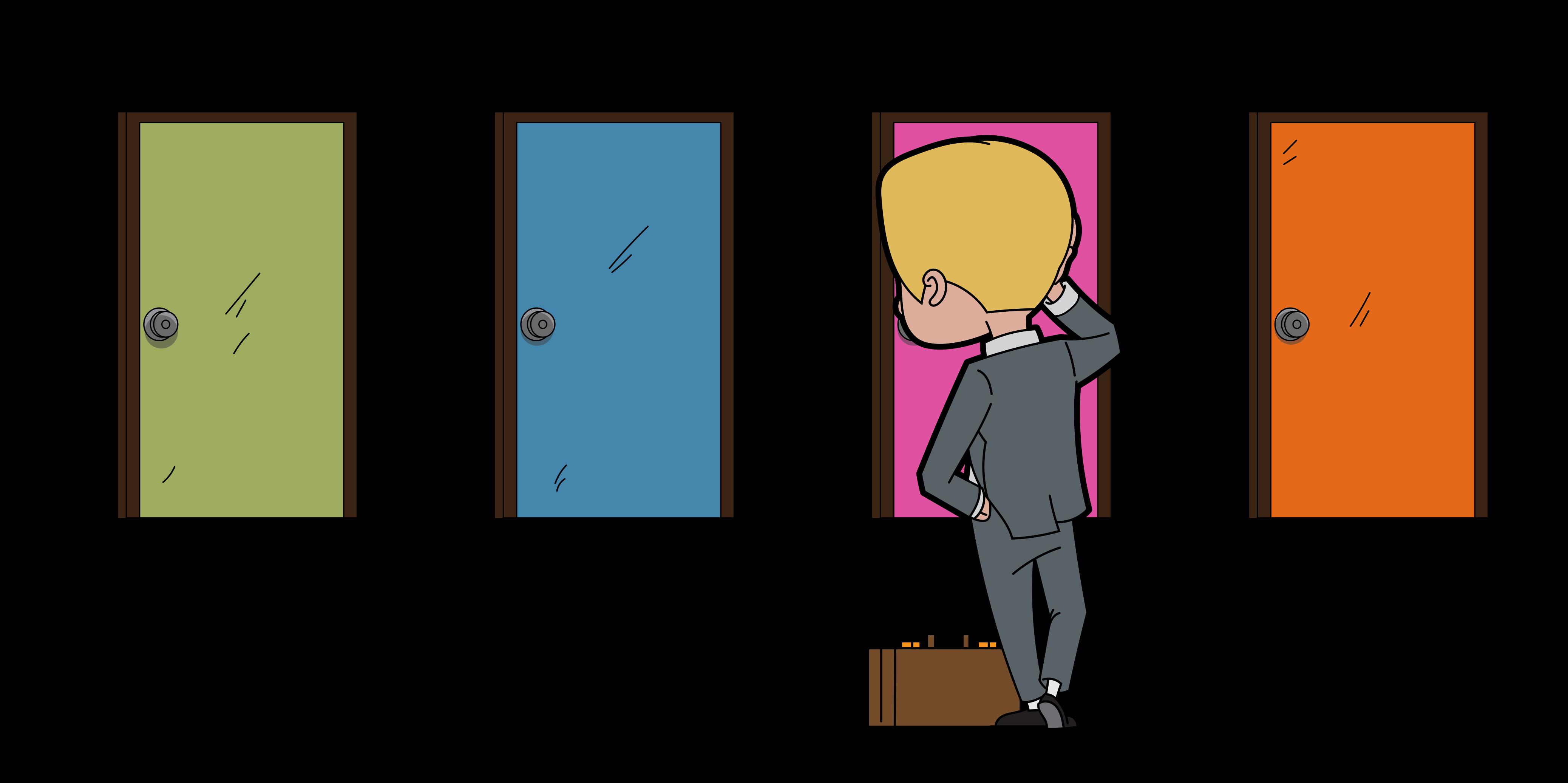 File career change cartoon. Clipart door colorful door