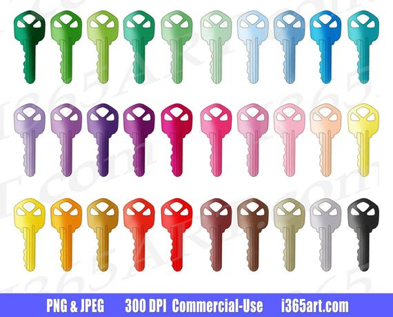 off house keys. Clipart key colorful key