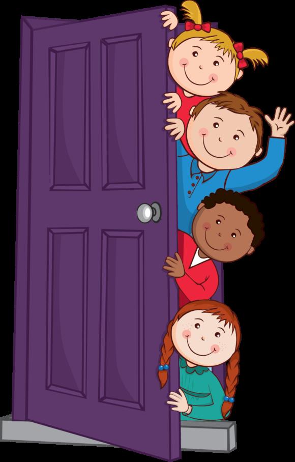 Door clipart colorful door. Kids peeping behind graphic