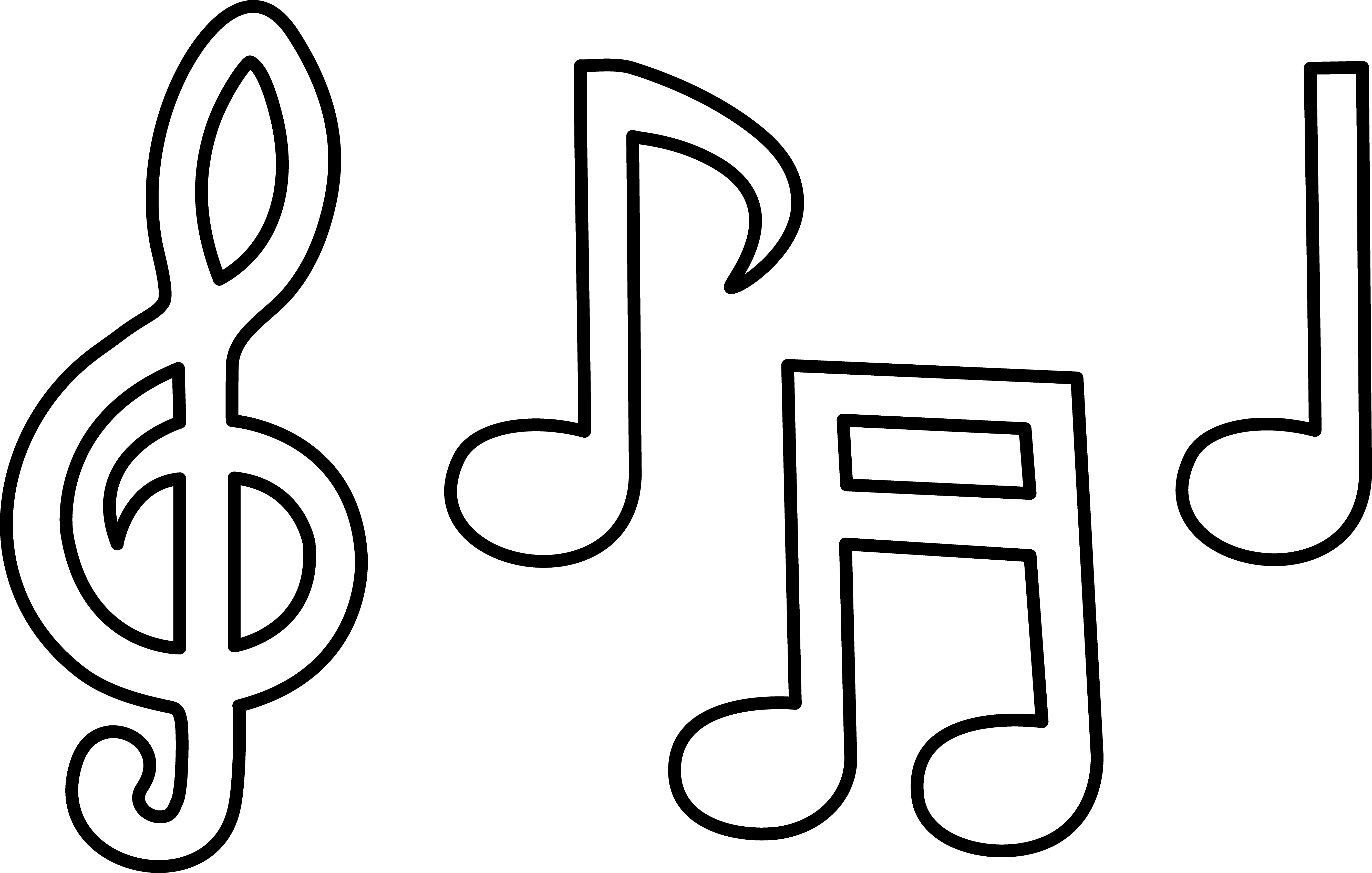 Free printable music note. Quilting clipart black and white