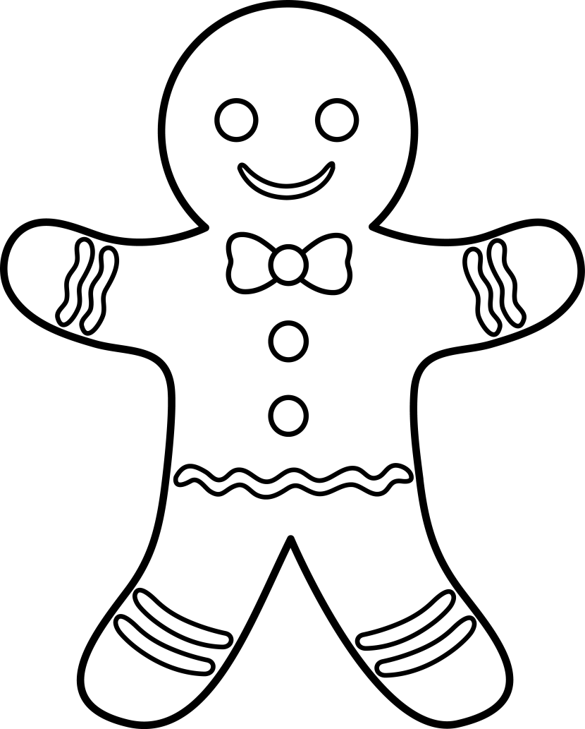 Clipart door colouring page. Exciting gingerbread men coloring