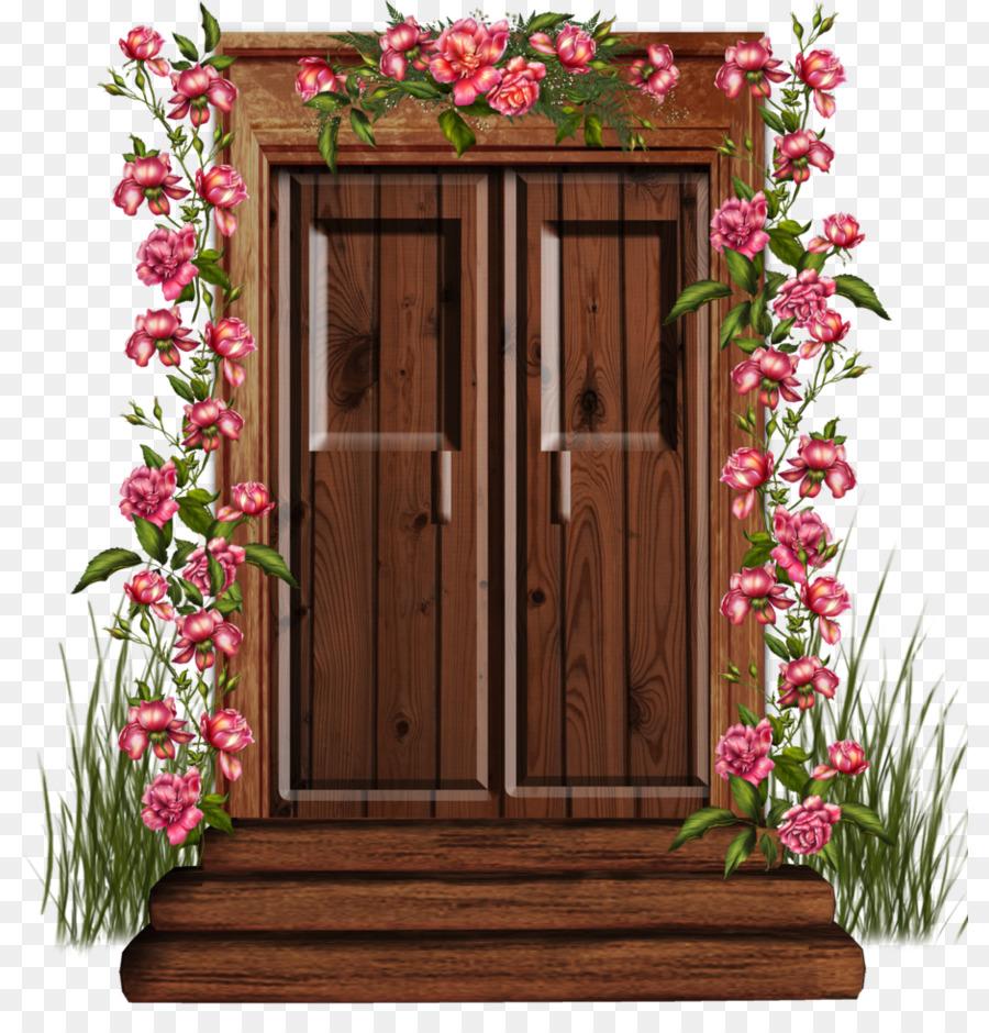 Flowers background window . Clipart door door design
