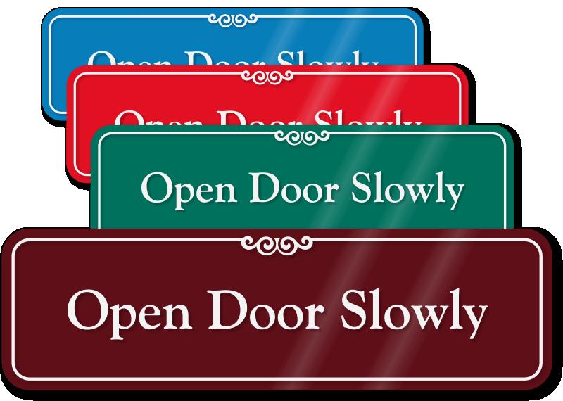 Door clipart entrance door. Approach slowly signs open