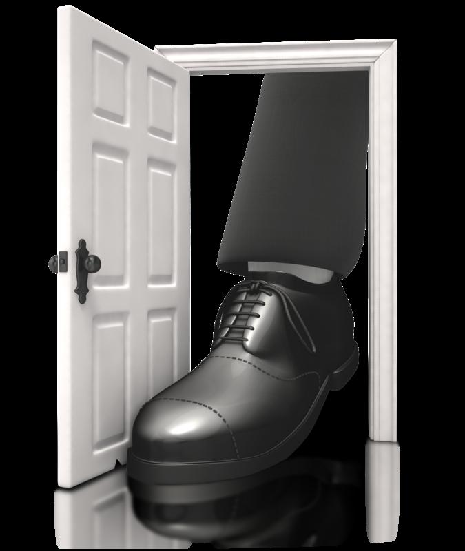Clipart door foot in door. Tell me about your