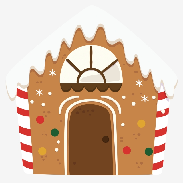 Gingerbread clipart door. Brown house hand painted