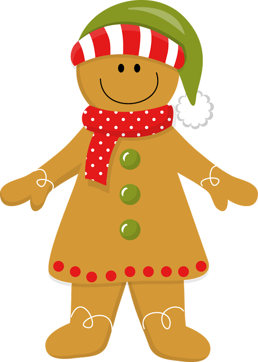 Christmas girl clip art. Clipart door gingerbread house