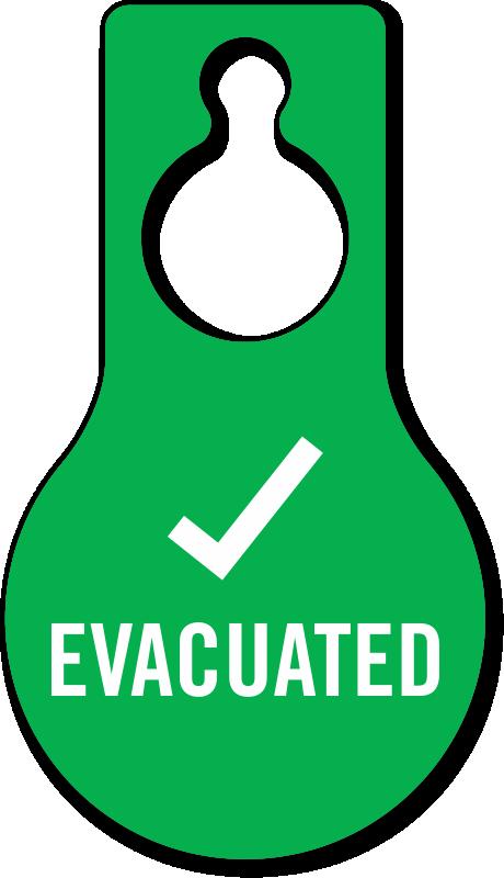Evacuated with tick symbol. Clipart door green door