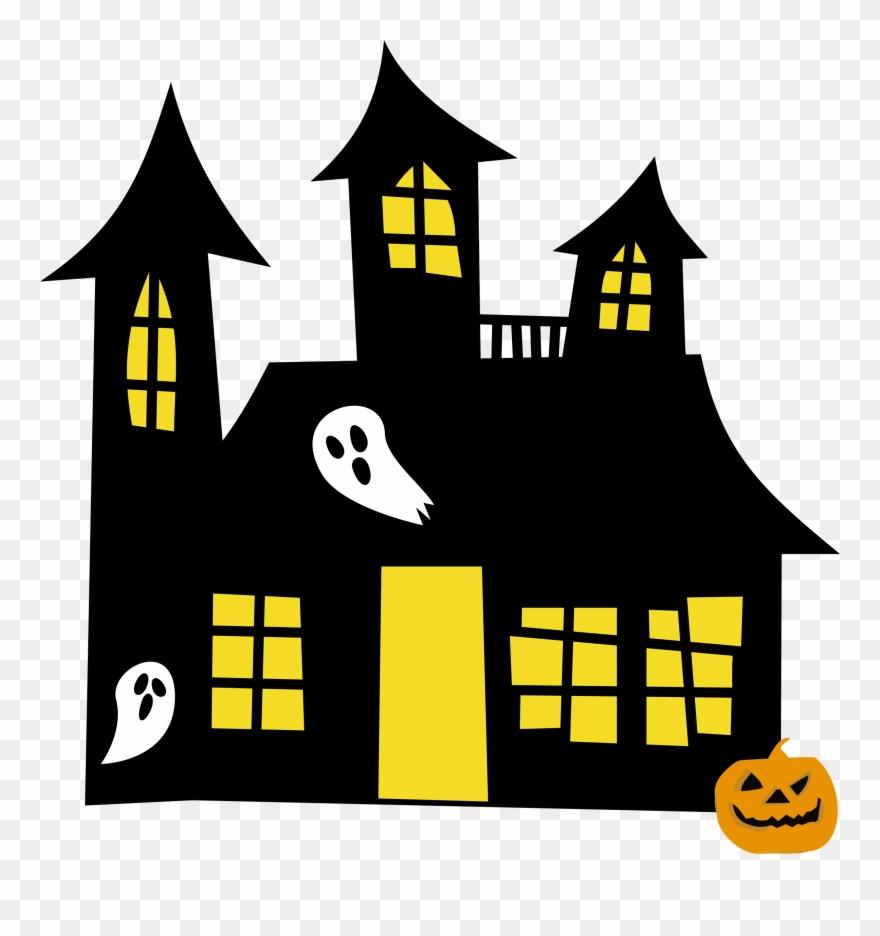 Clipart halloween haunted house. Hauntedhouse yellowwindows of spooky