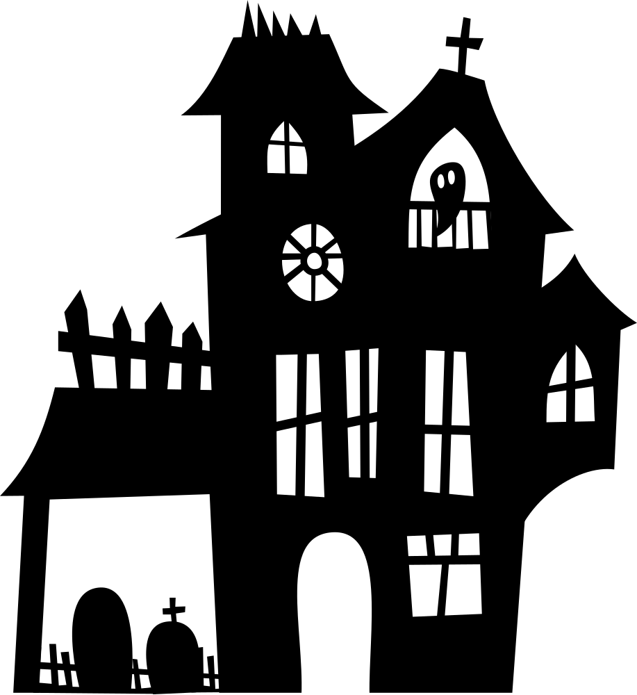 Haunted house silhouette png. Onlinelabels clip art mansion