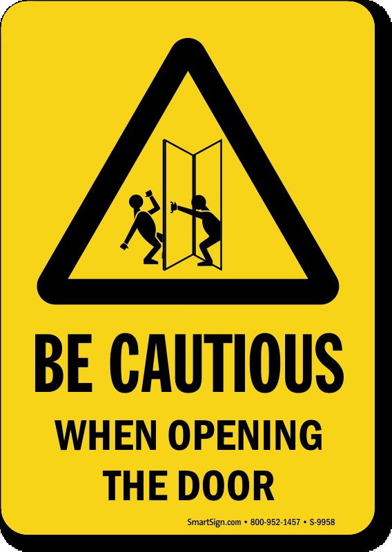 Approach slowly signs open. Door clipart hospital door
